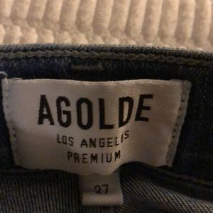 Agolde Jeans - Agolde jeans in dark blue, high rise, with rips